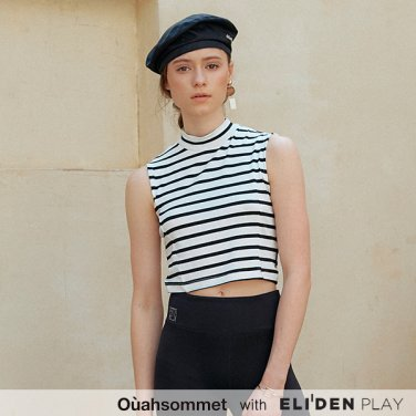 [우아솜메] Ouahsommet Stripe Sleeveless Crop Top_BK (OBFTT002A)