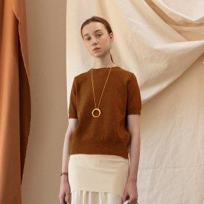 Athy Basic Half Sleeves Knit TOP [Brick Red] (JC19SSKT01_BR)
