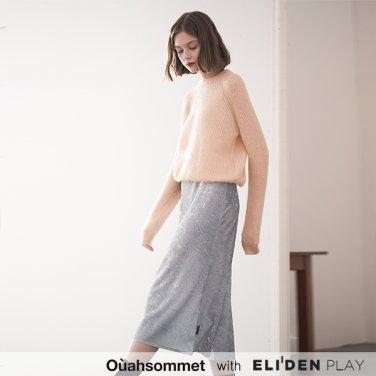 [우아솜메] Ouahsommet SATIN VELVET SKIRT [BLUE] (OBBSK002A)
