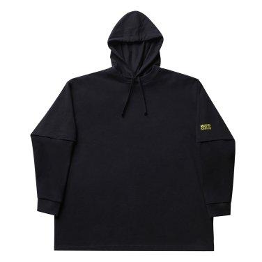 Layered hoody 001 black(unisex)