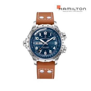H77765541 카키 에비에이션 X-Wind 데이 데이트 오토 45mm 브라운 가죽 남성 시계