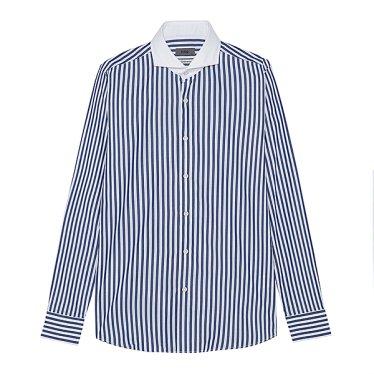 F/W 웨어에버 네이비 배색 스트라이프 셔츠