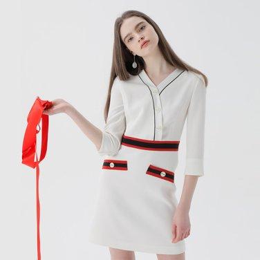칠부소매 홀라인 드레스(NW9MO112)