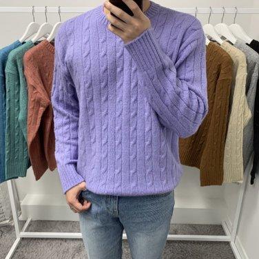 남성 가을 겨울 앙고라 꽈배기 니트 스웨터