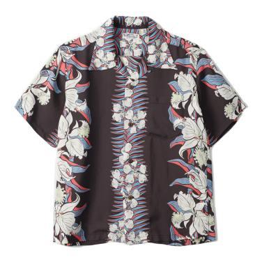 SUN SURF Rayon Hawaiian Shirt Cattleya Orchid Black