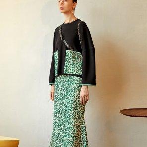 Leopard Mermaid Skirt_Green (JC19FW2LeopSKGR)