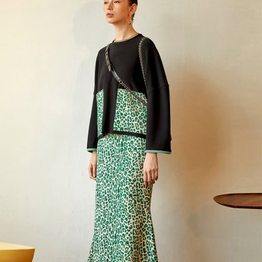 Leopard Mermaid Skirt_Green (JC19FW2LeopSKGR)