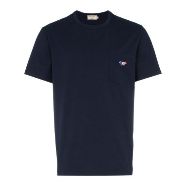 메종키츠네 폭스 포켓 티셔츠 네이비 AM00102KJ0010
