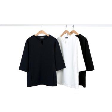 남성 댄디 슬림라인 V넥 폴리 7부 티셔츠_T0321
