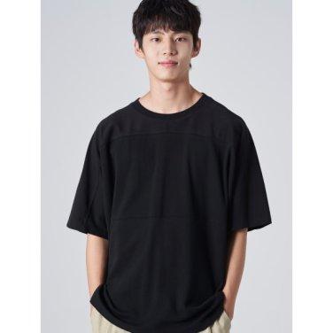 남성 블랙 코튼 절개 라인 반소매 티셔츠 (269742EY25)