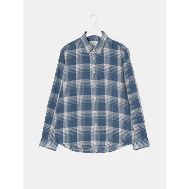 19SS  [30주년 CHECK] [SLIM] 네이비 콜라보 체크 리넨 셔츠(BC9364A41R)