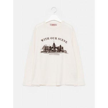 여성 아이보리 베이직 우븐 레터링 그래픽 라운드넥 티셔츠 (329841LY80)