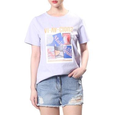 파스텔컬러 프린트 반팔 티셔츠 Z192PSM106