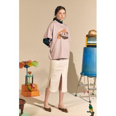 [테이즈] Long Pile Cotton Skirt_White