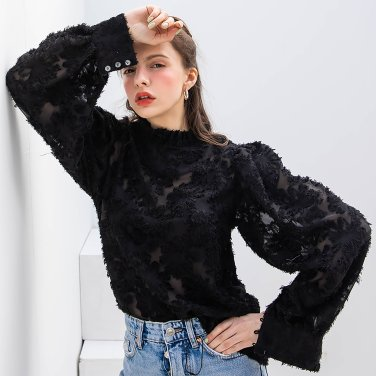 China Collar Feather Blouse Black(2019SSBL320_04)