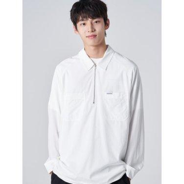 남성 화이트 솔리드 포켓 반집업 셔츠 (269764EY31)