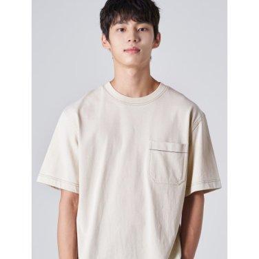남성 아이보리 코튼 배색 스티치 반소매 티셔츠 (429742EY20)