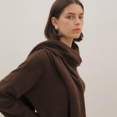 Muffler Knit Top - Brown
