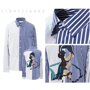 리버클래시(DJ) 블루 언발스트라이프 등판 아트웍 오버핏 셔츠 LFW31363