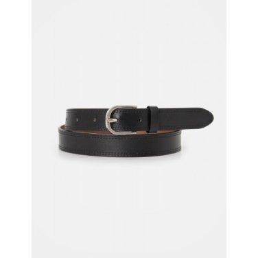 원형 버클 슬림 비조 벨트 - Black (BE0182M215)