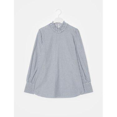 여성 네이비 스트라이프 스모킹 코튼 셔츠 (128964YQ8R)