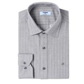 헤링본 솔리드 기모 슬림핏 셔츠 RIWSL0151GYIL