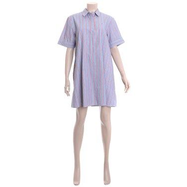 여성 코튼 스트라이프 반소매 셔츠 원피스 TUMT1OZE51D0