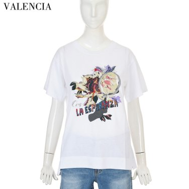 프린트 자수 면 티셔츠 V86GC85