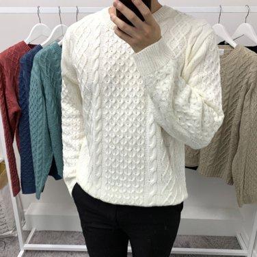 남성 가을 겨울 피셔맨 라운드넥 니트 스웨터