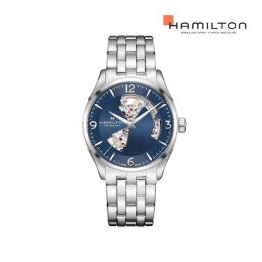 H32705141 재즈마스터 오픈하트 42mm 블루 메탈 남성 시계