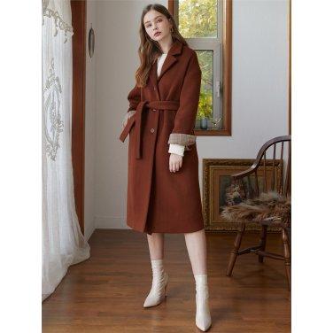 [에프코코로미즈] tailored collar long coat BR
