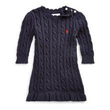 랄프 로렌 베이비 여아 케이블니트 스웨터 드레스(CWPODRSF3E10036B82)