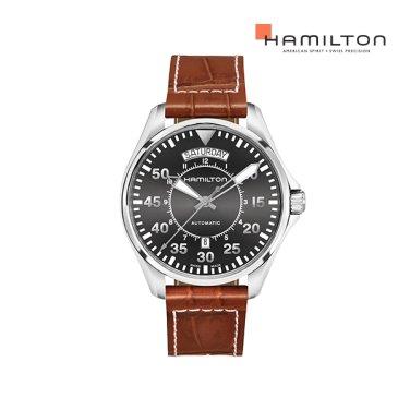H64615585 카키 파일럿 오토 데이데이트 42mm 그레이 가죽 남성 시계