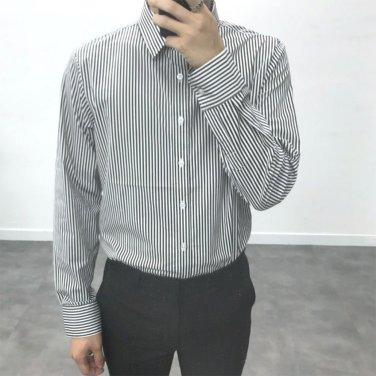남성 구김방지 스트라이프 스판 댄디 셔츠_SH0160