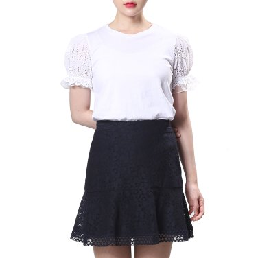 소매 레이스배색 티셔츠(OW9ME423)