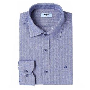 헤링본 솔리드 기모 슬림핏 셔츠 RIWSL0151BUIL