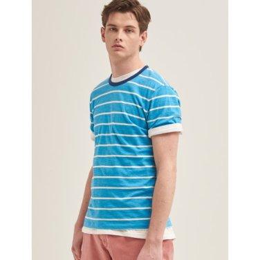 스카이 블루 멜란지 배색 스트라이프 티셔츠 (BC9442C24Q)