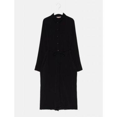 여성 블랙 베이직 스트랩 셔츠형 롱 원피스 (169871HY15)