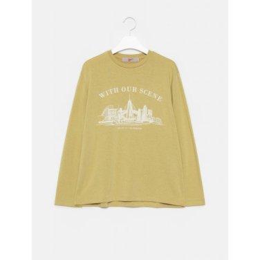 여성 올리브 베이직 우븐 레터링 그래픽 라운드넥 티셔츠 (329841LY8J)
