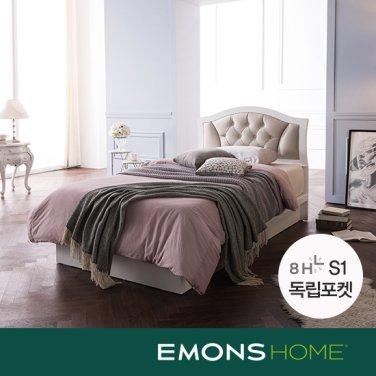 [에몬스홈]로메로 가죽헤드 평상형 침대 SS(8H S1 독립포켓매트)