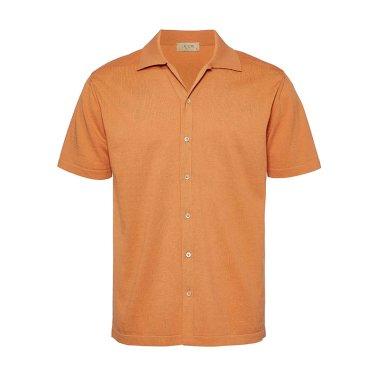 봄/여름 코튼 오픈 칼라 하프 니트 셔츠 오렌지 J9SA802COR