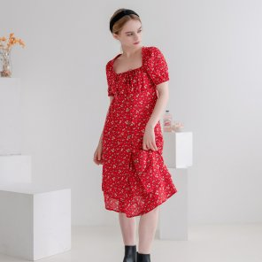 Flower Restro Square-neck Puff Dress(2019SUOP320_09)