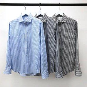 남성 스트라이프 TR 와이드카라 구김방지 셔츠_SH0158