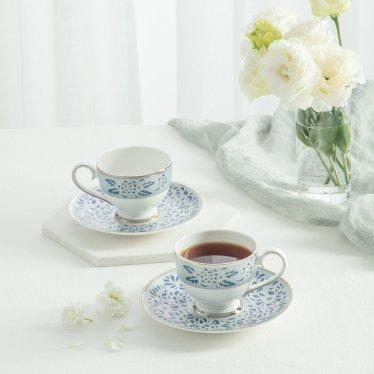궁 블루 챠토우 커피세트 4p