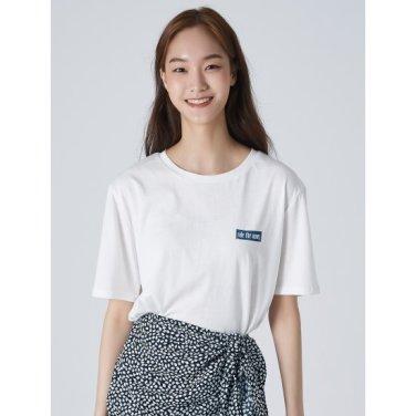 여성 아이보리 베이직 코튼 프린팅 반소매 티셔츠 (359742JB10)