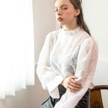 China Collar Feather Blouse White(2019SSBL320_03)