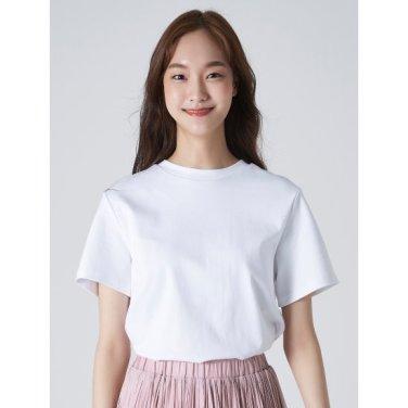 여성 화이트 솔리드 베이직 라운드넥 티셔츠 (329742LYA1)