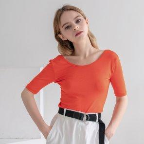U-Neck Back Point Tshirts Orange(2019SUTS320_04)