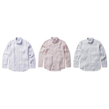 히든 버튼  스트라이프 린넨 셔츠.NEZ2WC1602,