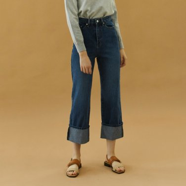 fold denim pants_blue